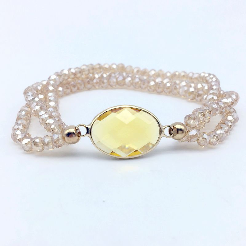 5 Colors Fashion Faceted Stone Bezels Connector Stretch Bracelet with Crystal Glass Beads 6 mm Elastic Extensive Jewelry 4