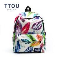 TTOU Design White Color Leaves Printing Backpack Teenager S School Bag Women Backpack Travel Bag Gift