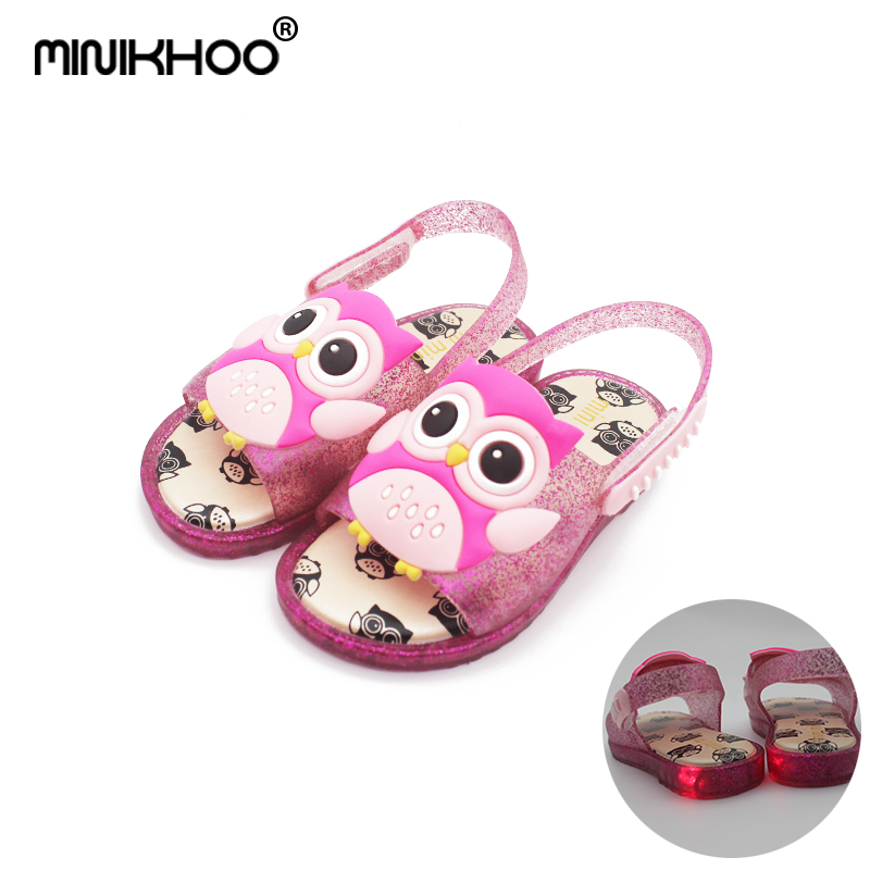 Mini Melissa LED Flash Owl 2018 Summer New Jelly Sandals Girl Shoes Baby Beach Sandals Melissa Girls Jelly Sandals Baby Shoes