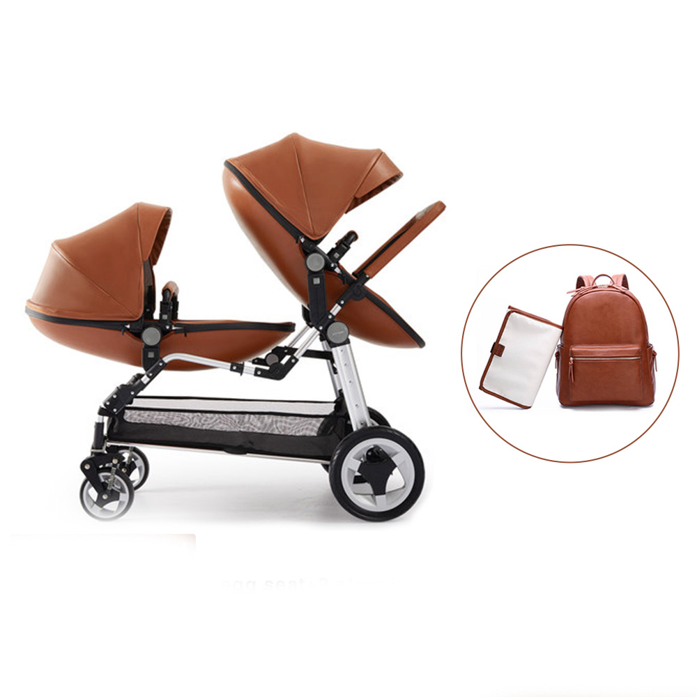 Double Stroller Expensive Us 406 36 36 Off Eu Tax Free Newborn Twins Baby Stroller Luxury High Landscape Leather Prams Folding Can Sit Lying Double Baby Stroller 13pcs In