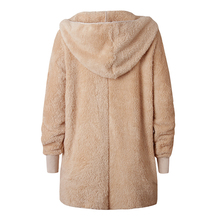 Solid Loose Casual Pockets Long Sleeve Warm Soft Jackets Elegant Autumn Winter Women New Plush Cardigan Hooded Coats Female