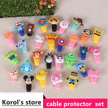 100pcs/lot Cartoon Cable Protector  USB Charging Data Line Cord Universal Protective Case Winder Cover For iPhone Android