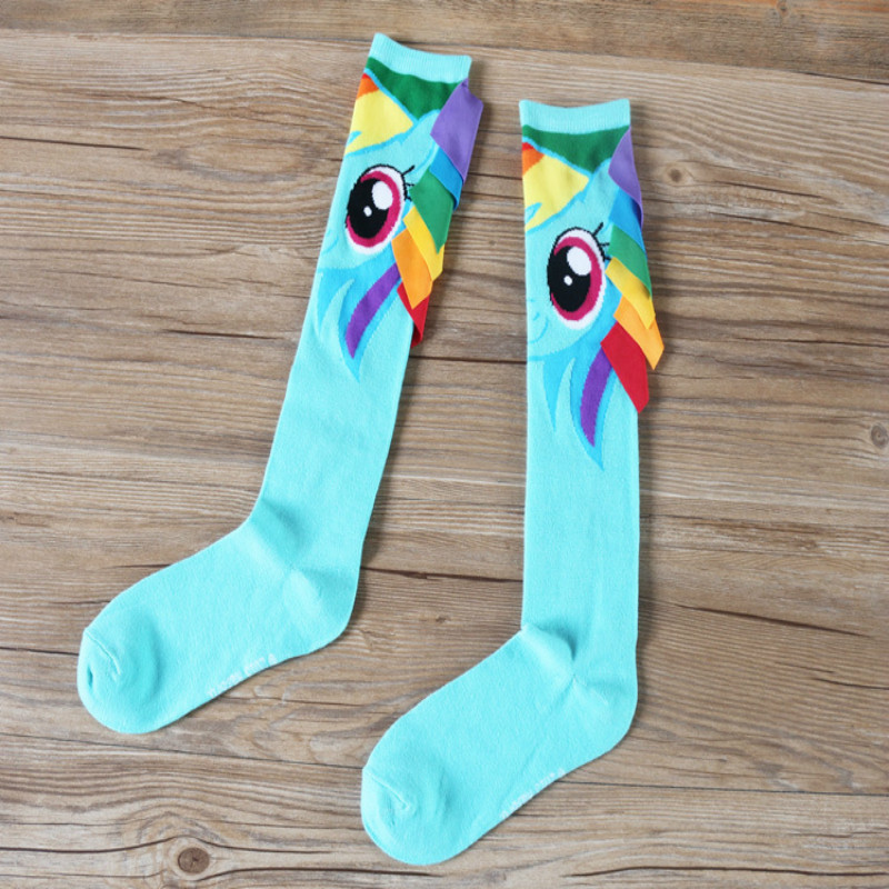 Europe and America Hand-sewn Ponytail Sweet Cartoon Horse Patterns High Socks Female Fashion