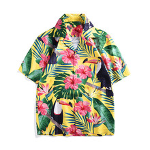 купить Men/women's loose Shirts Brand new 2019 summer short sleeves floral print Men's Shirts Hawaii style Shirt A347 дешево