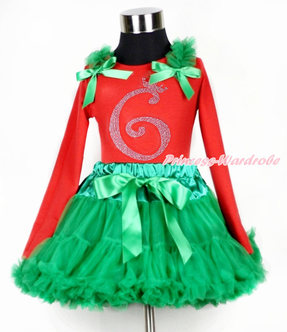 ФОТО KellyGreen Pettiskirt, 6th Sparkle Crystal Bling Birthday Number, Red Long Sleeves Top, KellyGreen Ruffle Kelly Green Bow MAMB35