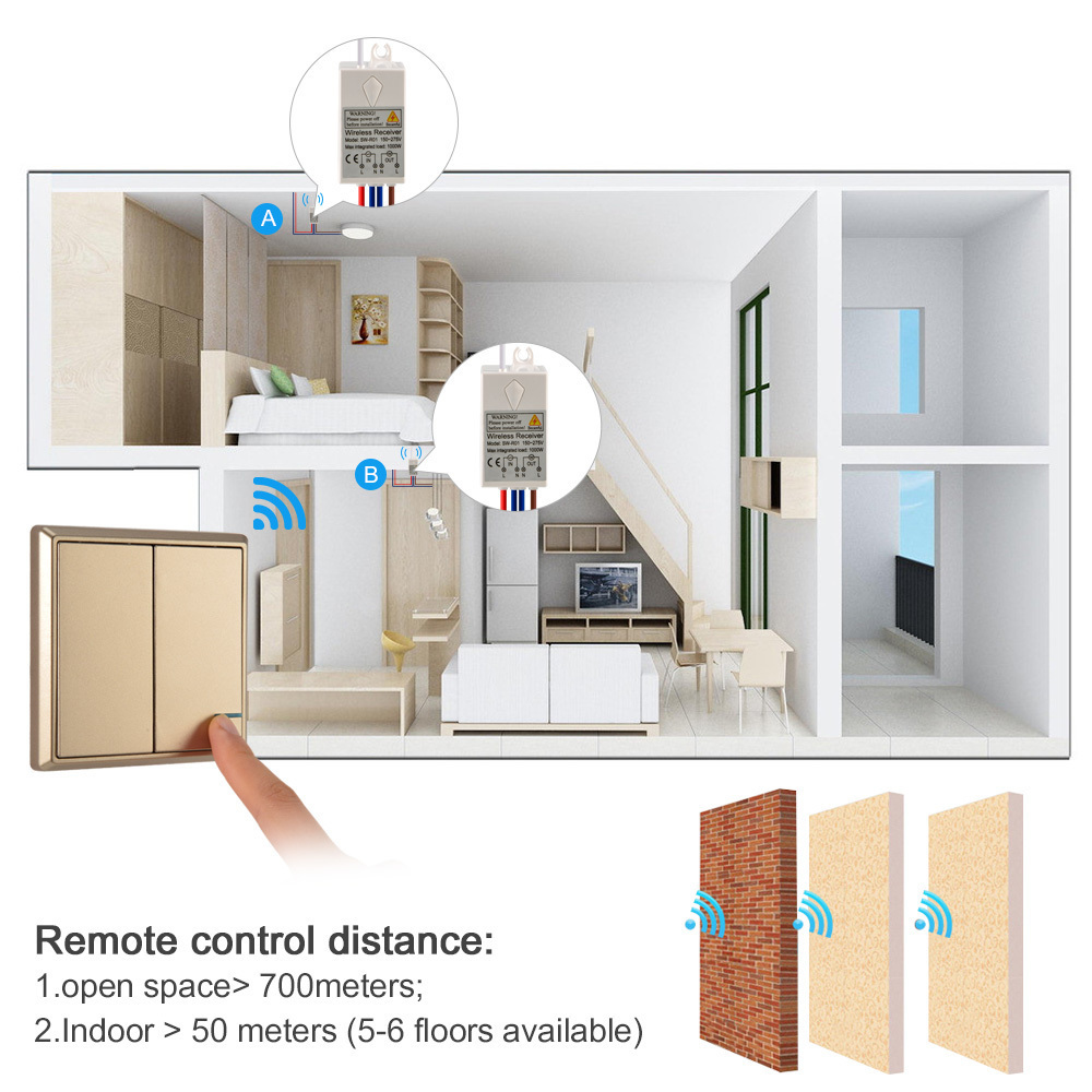 Wireless Light Switch Waterproof Remote Switches No Wiring 2 Quick Create Control Ceiling Lamps Led Bulbs In From Lights Lighting On