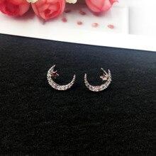Купить с кэшбэком Wholesale 925 Silver Needle Retro Exquisite Zircon Star Moon Stud Earrings for Women Fashion Korean Studs Jewellery Gift