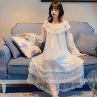 Women's Ice Silk White Pink Blue Princess Dress Sleepshirts Vintage Palace Style Multilayer Lace Mesh Nightgowns