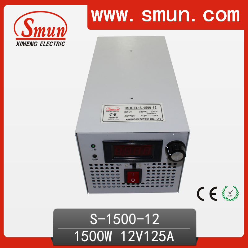 1500W 12VDC 125A Single Output Switching Power Supply With Plug EU,UK,US,AU Standard and so on