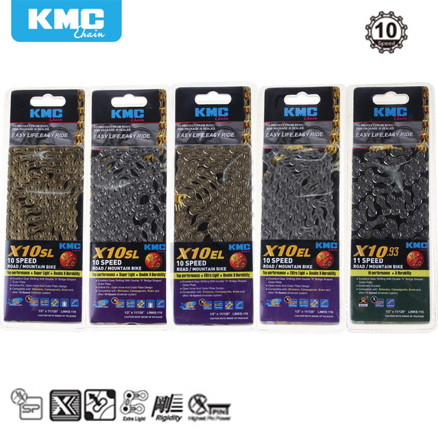US $17 8 |KMC X10 X10 93 MTB Road Bike Chain 116L 10 Speed Bicycle Chain  Magic Button Mountain With Original box-in Bicycle Chain from Sports &