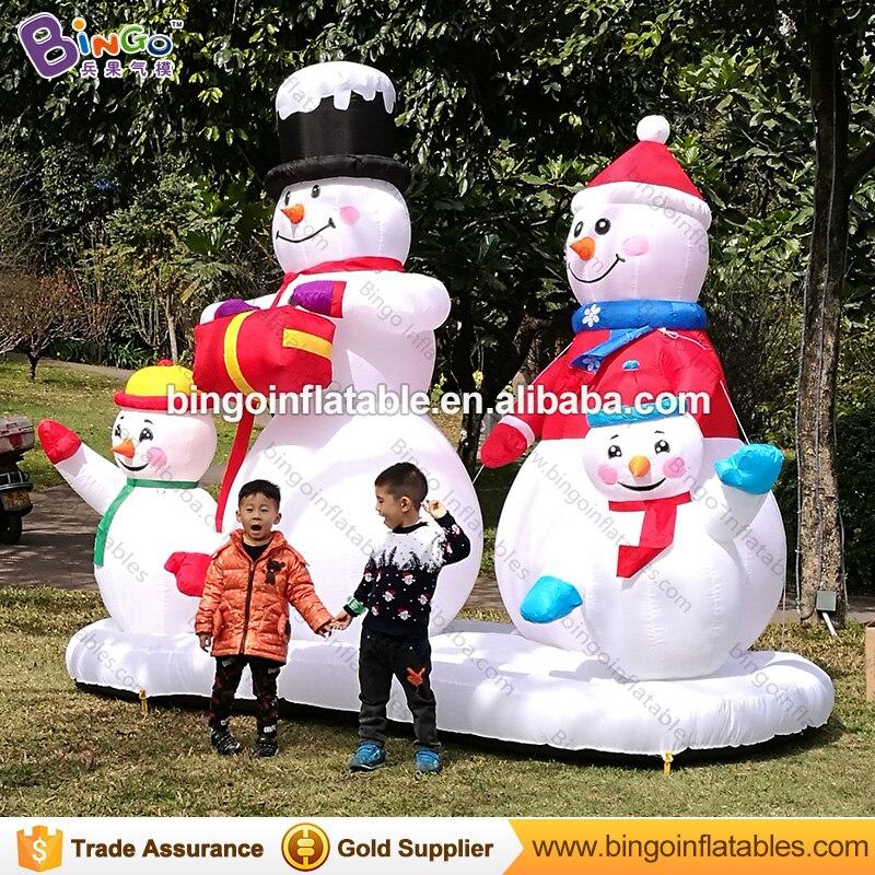 Бесплатный Экспресс 3 м надувной снеговик семьи на Рождество вечерние взорвать Снеговик 4 членов шар для украшения парка игрушки