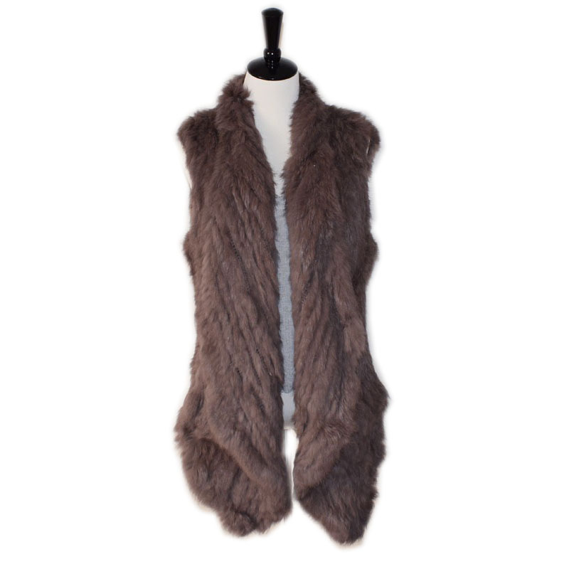 real rabbit fur knitted vest handmade double faced knitted waistcoat medium-long cardigan short design knitted fur vest