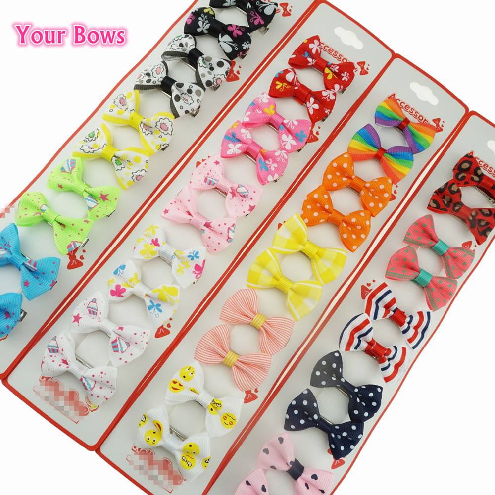 Your Bows 1Piece Hair Bows Candy Color Mini Sweet Solid Dot Floral Hair Clips Kids Hairpins Girls Headwear Hair Accessories