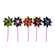 5pcs Colorful Windmill DIY Garden Windmill Colorful Wind Spinner Sheet Small Windmills Outdoor Toy 36.5*15*0.8CM(China)