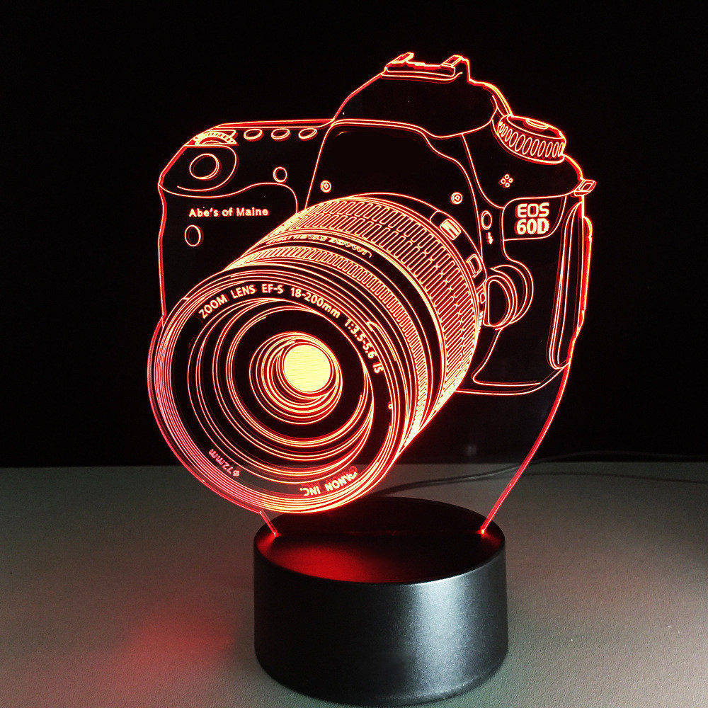 Novelty 3D Camera Modeling Table Lamp LED 7 Colors Changing  Illusion Night Light USB Touch Button Light Fixture Bedside Decor