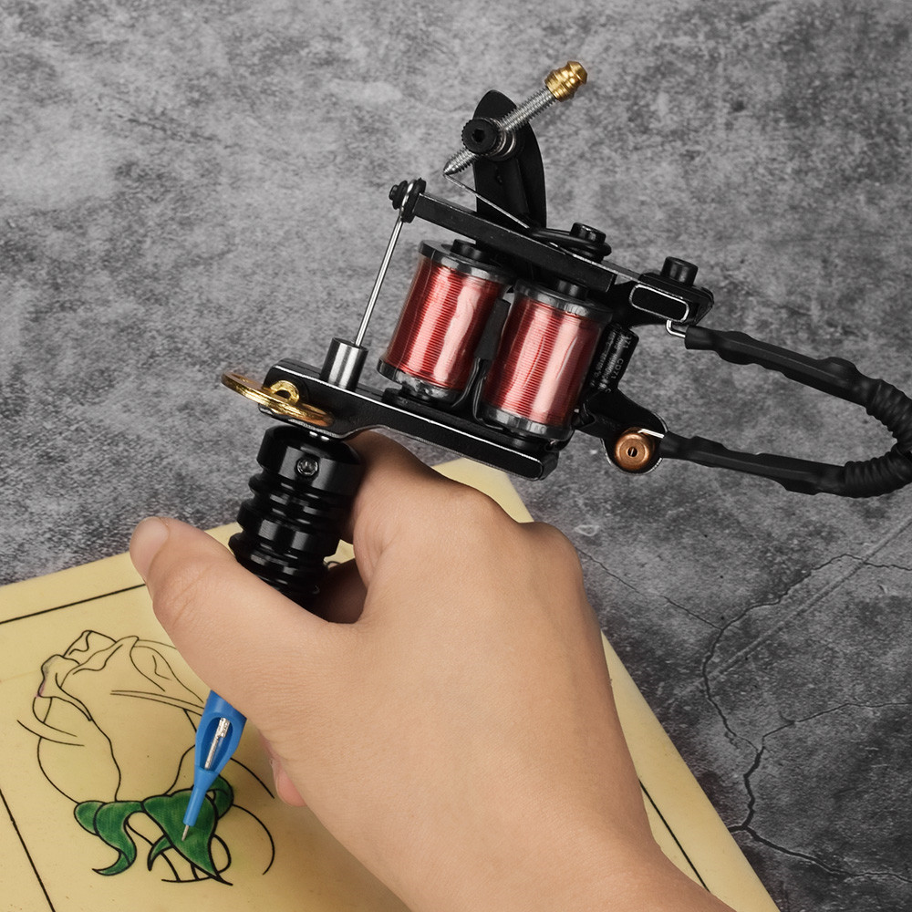 ATOMUS 2019 New Tattoo Machine 10 Wraps Coils Guns Pigment Power Tattoo Beginner Grips Permanent Makeup New Style Liner Shader in Tattoo Guns from Beauty Health