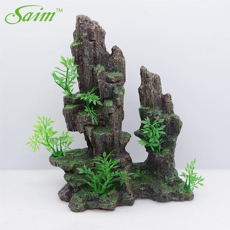 Saim Aquarium décoratif Rockerys pour Aquarium ornement Auarium décoration Acuario résine grotte pierre arbre aménagement paysager décoration