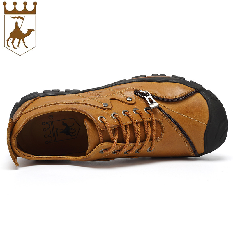 BACKCAMELthe New Boy Loe Leather Zipper Handmade Casual Shoes Creative Outdoor High Quuality Genuine Doods Size38-44