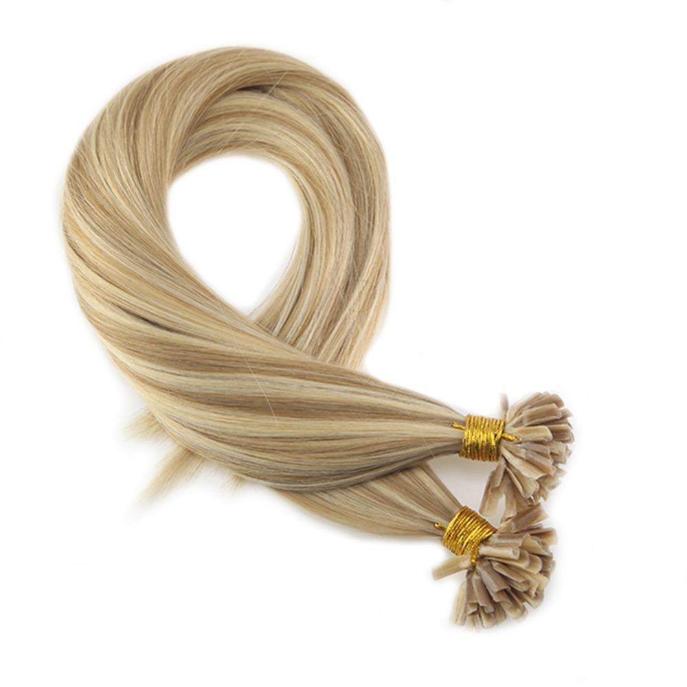 Moresoo Remy Keratin Nail U Tip Extensions Color #14 Golden Blonde Highlighted With #613 Blonde Pre-bonded Hair 1g/s 50 Strands