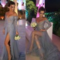 Sexy Side Slit Gray Robe De Soiree 2016 Sweetheart A-line Shiny Sequined Evening Dress Long Sleeves Lace Prom Gowns