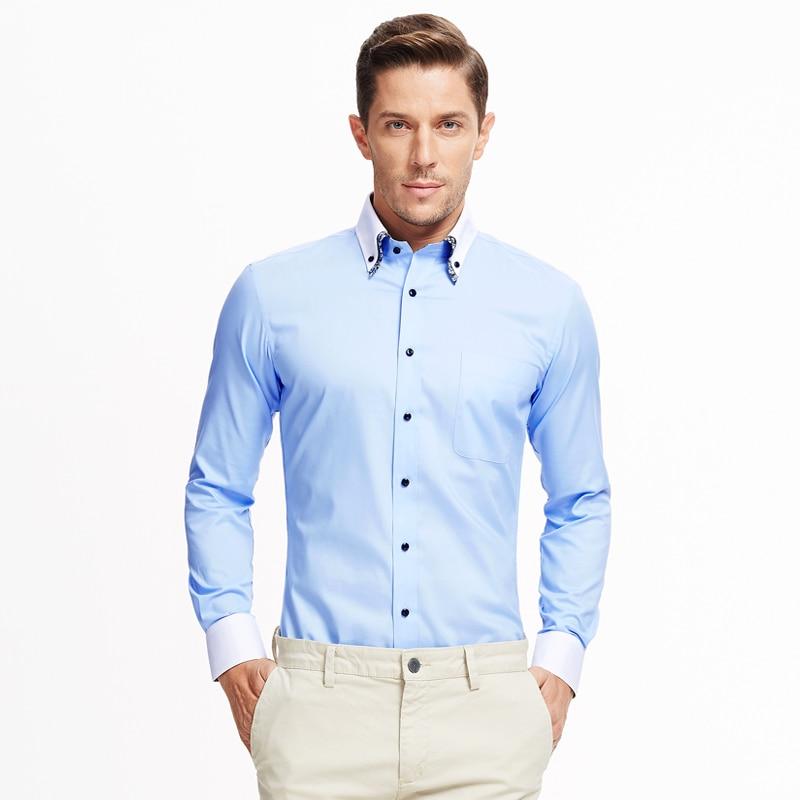 c4594f7df253f Smart Five Man s Shirt Double Collar Long Sleeve Men Shirt Slim Fit Camisa  Masculina 2017 New Summer Brand Clohting Size 6xl-in Dress Shirts from  Men s ...