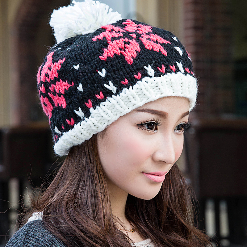 BomHCS Sweet Cute Autumn Winter Warm Knitted Hat Women 100% Handmade Crochet Beanie Cap bomhcs cute women autumn winter warm thick handmade knit hats beanie cap hat