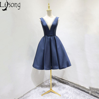 Navy Blue Burgundy Prom Dress Short Cheap Womens Modest Pleated Party Ball Gowns Custom Made Chic