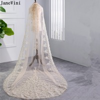 JaneVini Luxurious Long Wedding Veil Lace Edge Sequins Champagne Cathedral Length Bridal Veils with Comb Voile Mariage Longues