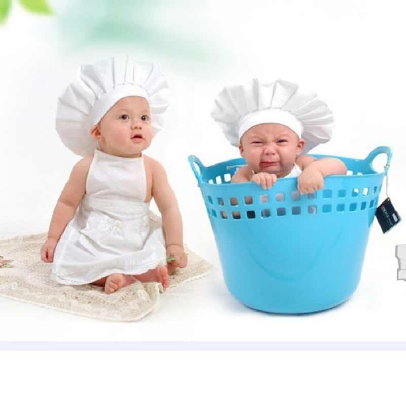1ef35bf2e65b Venta al por mayor barato blanco cocinero delantal disfraz bebé sombrero  recién nacido fotografía utilería sombreros