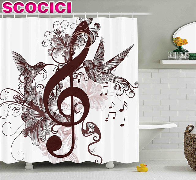 Music Decor Shower Curtain Cute Floral Design With Treble Clef And Singing  Flying Birds Sparrows Artwork