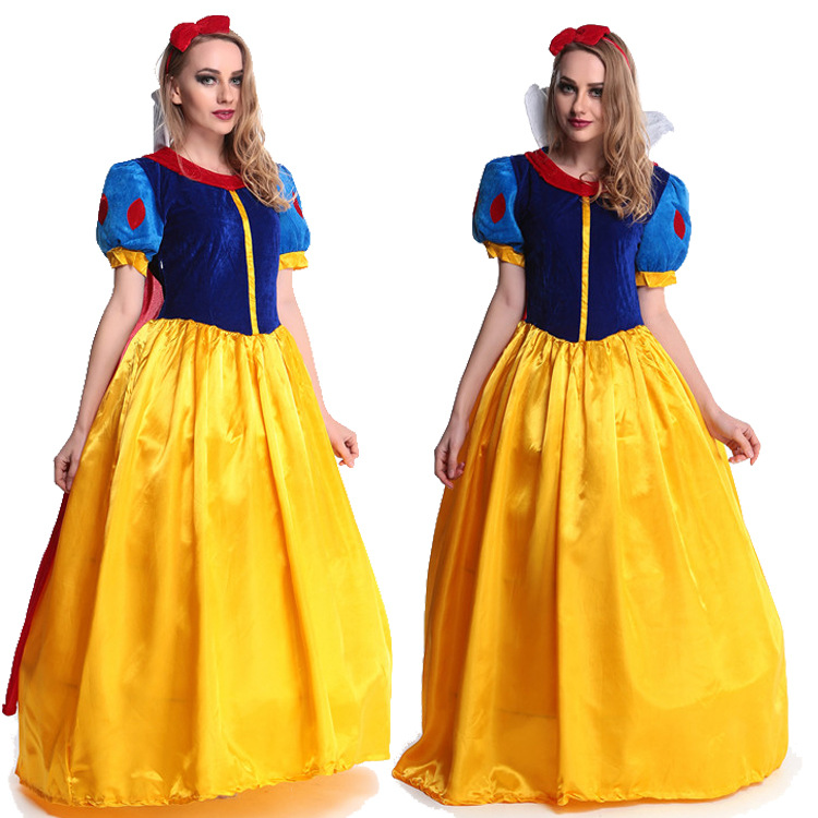 5 pcs/lot Women fantasia Princess Snow White Cosplay Costume Carnival Party Dress Women Adult Snow White Halloween Costume
