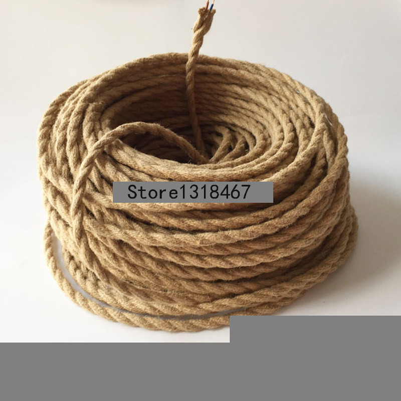 Vintage Rope Twisted Hemp Rope Braided Jute Rope Electric Wire Cable Retro Braided Electrical Wire Antique Fabric Cable