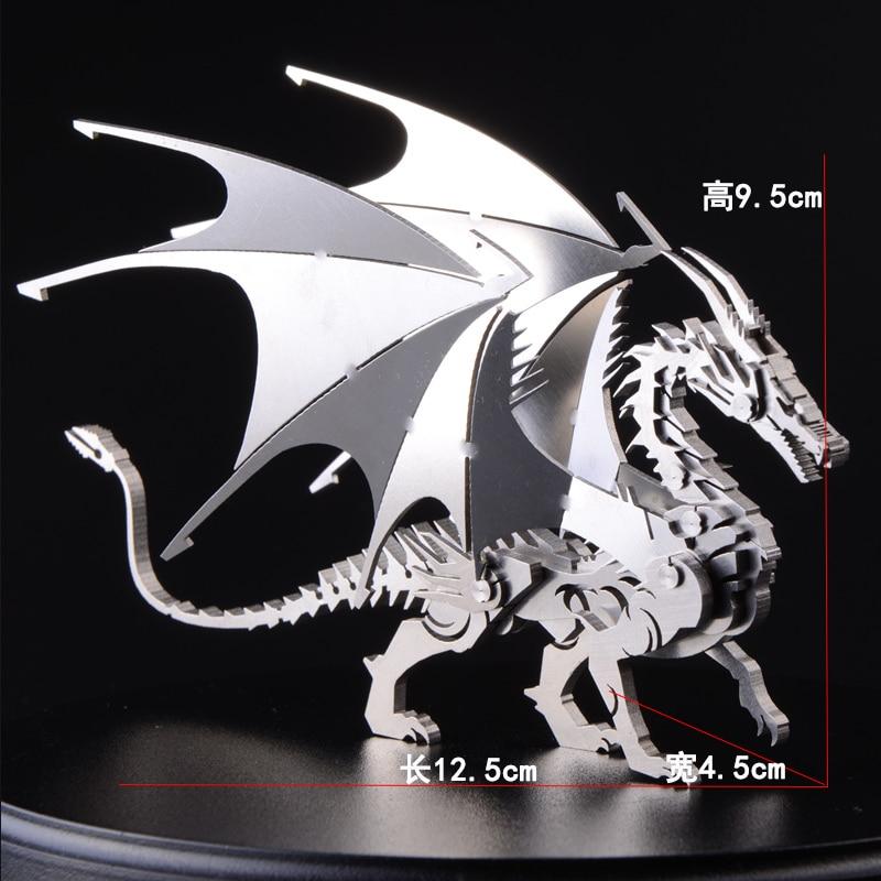 3D Có Thể Tháo Rời Rồng DIY Sinh Nhật Bằng Kim Loại Quà Tặng Cho Trẻ Em Trai Mô Hình Lắp Ráp Mô Hình Thép Không Gỉ Đồ Chơi 12.5*9.5*4.5 cm