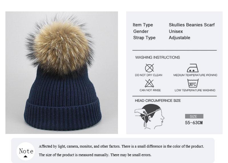 da8fc601f79 New Wool Beanies Women Real Raccoon Fur Pom Poms Fashion Knitted Hat Girls  Female Beanie Cap Pompom Winter Hats for Women