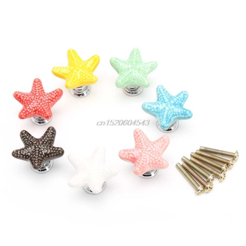 Furniture Handles Starfish Cabinet Knobs and Handles Ceramic Door Knob Cupboard Drawer Kitchen Pull Handle Home+Screw R11