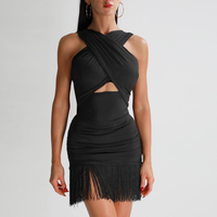 New Lady Latin Dance Tops Performance clothes Rumba Shirt Cha cha / Samba Latin Tops black color Wear Tie up Top Women DQS1104