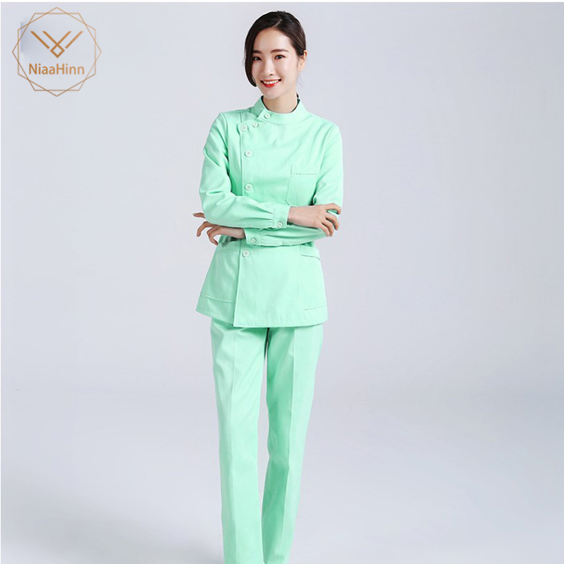 New Nursing Uniforms Beauty Salon Female Short Sleeve Coat+Pants Womens Nurse Medical Clothing Hospital Surgical Suits Scrubs