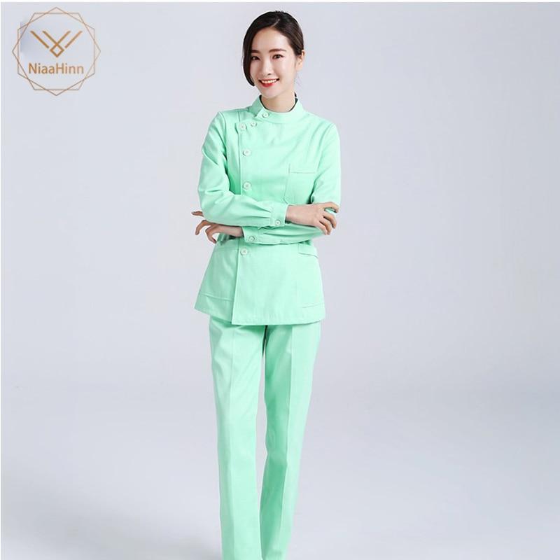 New Nursing Uniforms Beauty Salon Female Short Sleeve Coat+Pants Womens Nurse Medical Clothing Hospital Surgical Suits Scrubs