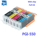 15pcs Compatible ink Cartridge PGI550 for Canon IP7250 MG5450 MX925 MG5550 IX6850 MX725 MG5650 MG6650 MG6350 MG6450 MG5400