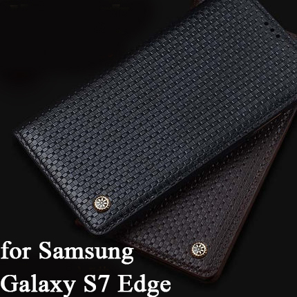 competitive price 0cac5 2c9ab US $25.99 |High Quality Genuine Leather Cover for Samsung Galaxy S7 Edge  Case 5.5