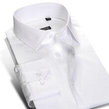 الرجال القياسية تناسب التجاعيد مقاومة طويلة الأكمام فستان زر قميص إغلاق القطن الكلاسيكية الأعمال الرسمي قمصان العمل الأساسية