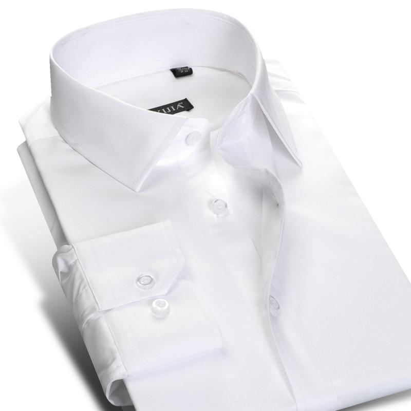 Men's Standard-fit Wrinkle-Resistant Long-Sleeve Dress Shirt Button Closure Cotton Classic Formal Business Work Basic Shirts
