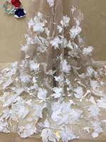 3D Lace Fabric white Flowers, Bridal Lace Fabric, French Lace Fabric For Haute Couture Dress, Mesh Lace Fabric With 3D Flowers