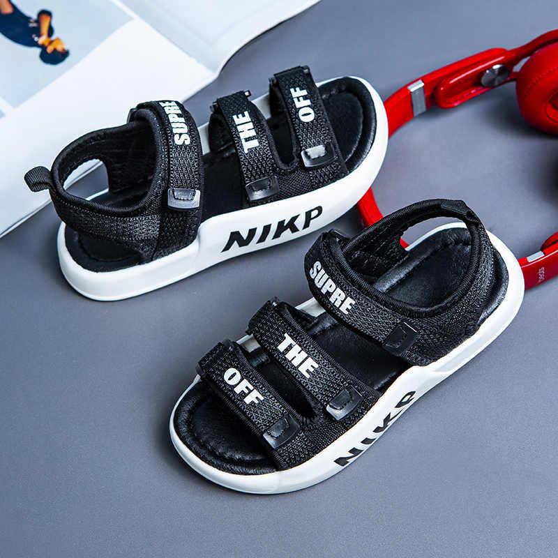 בני סנדלי קיץ סניקרס ילדים נעלי Infantil בני חוף סנדלים מקרית אופנה רך שטוח נעלי גודל 26-37