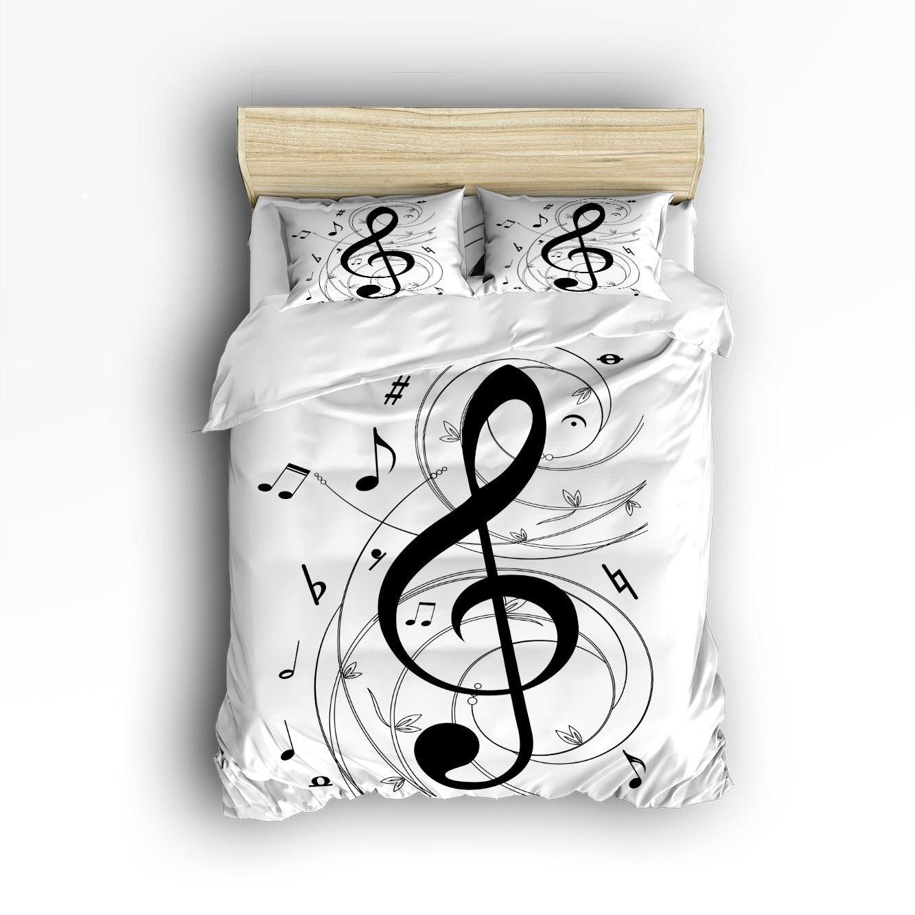 Copripiumino Note Musicali.Charmhome Note Musicali Stampato 3d Biancheria Da Letto Set 4 Pz