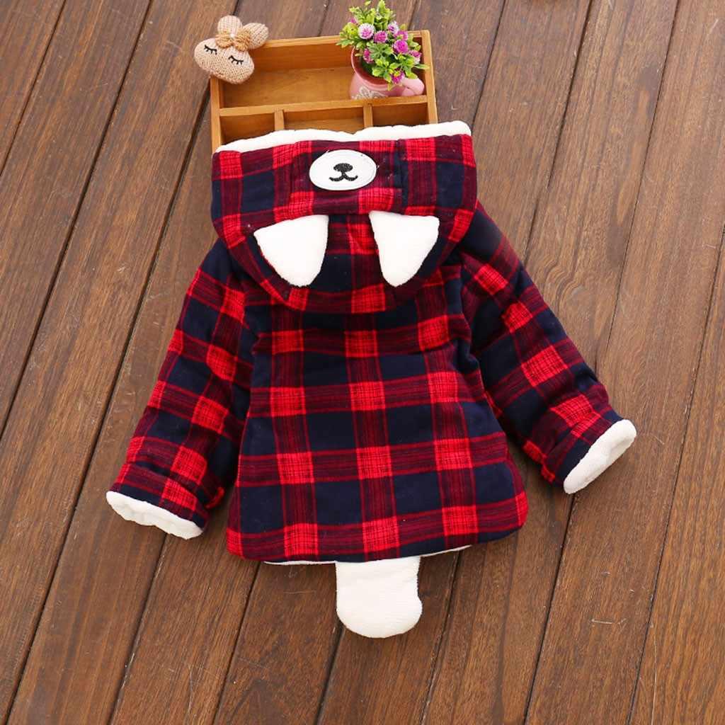 Baby Boys Girls Long Sleeves Coat Warm Hooded Cartoon Ear Plaid Tops Thickn Fleece Newborn Infant Baby Girl Winter Coat Jacket