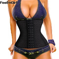 FeelinGirl 9 Steel Bone Waist Tummy Cincher Air Hole Breathable Body Shapewear Belt Corset Cincher Trainer Girdle -E