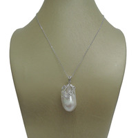 100% nature freshwater pearl pendant,big baroque shape,925 silver chain 18 inch length