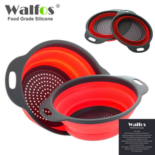 WALFOS 2 pieces Kitchen Collapsible Silicone Colander Fruit Vegetable Strainer Silicone Drainer