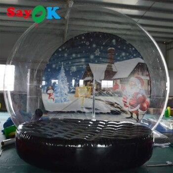 Globo Di Neve Gonfiabile | 3m (10ft) Decorazione Di Natale Neve Globo Gonfiabile Trasparente Tenda Bolla Con Sfondo Stampato Ventilatore E Pompa